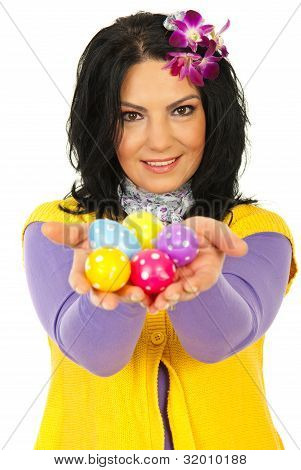 Beauty Spring Woman Giving Easter Egss