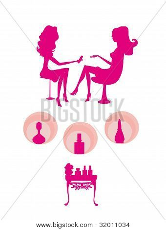 Young lady doing manicure in beauty salon - silhouette