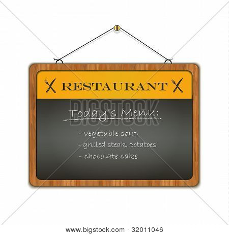 vector Blackboard Wood Frame Menu Restaurant Yellow
