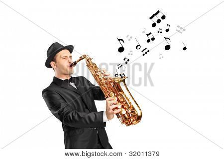 A man playing on saxophone and notes coming out isolated against background
