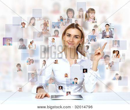 Businesswoman making presentation against social network background