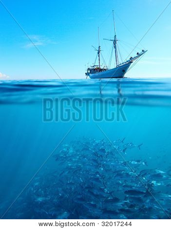 Sail boat in a tropical calm sea on a surface and large school of a Jackfish underwater