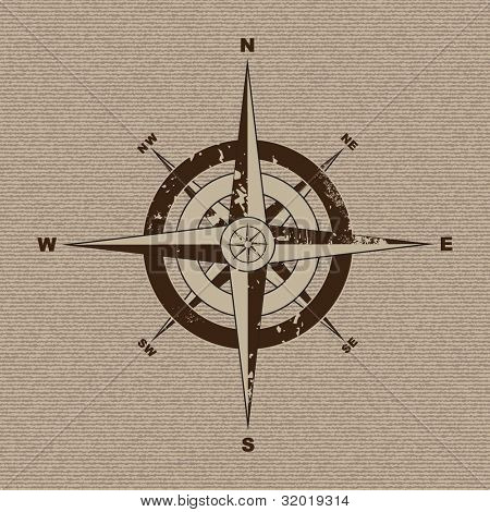 Retro grunge compass with material canvas background in brown