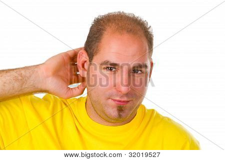 Young Man Hard Of Hearing