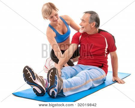 Senior Man Fitness Ãœbung zu tun