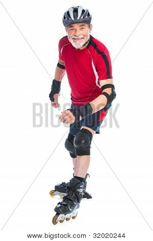 Senior Man Inline Skating