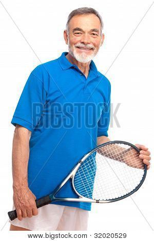 Senior Man With A Tennis Racket