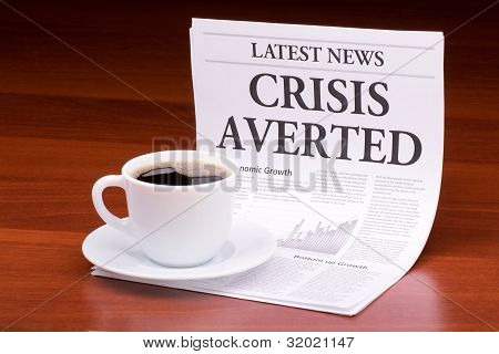 The Newspaper Latest News.with The Headline Crisis Averted