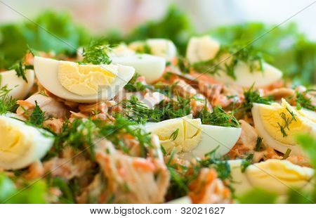 spring  salad with carot,leafs and egg