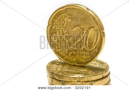 2O Eurocent Coin On Pile