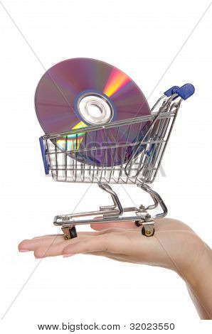 Optical Disks In Shopping Trolley On The Palm
