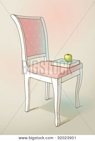Vintage chair, book and apple, vector