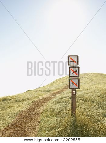 Signs denoting forbidden actions by dirt path