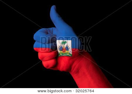 Haiti National Flag Thumb Up Gesture For Excellence And Achievement Made With Hand