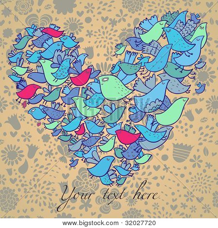 Abstract heart made of bright cartoon birds on a seamless floral pattern