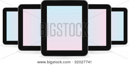 Digital tablet computer ipad set isolated on white
