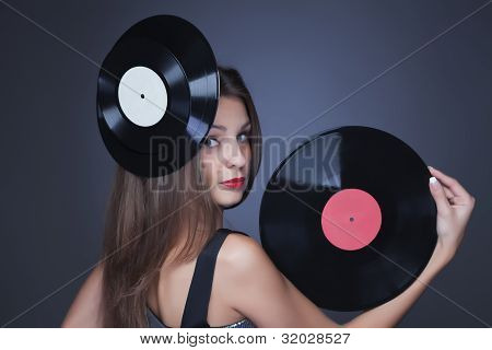 Girl With Blue Vinyl Record