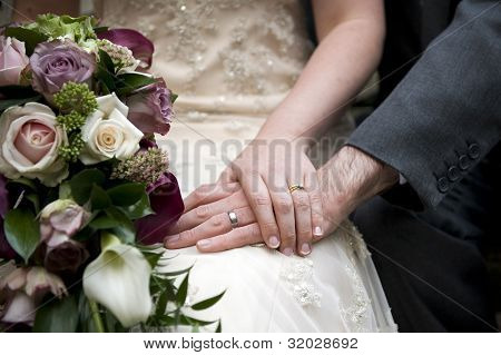 Wedding Couple Detail Hand And Ring Shot With Bridal Bouquet