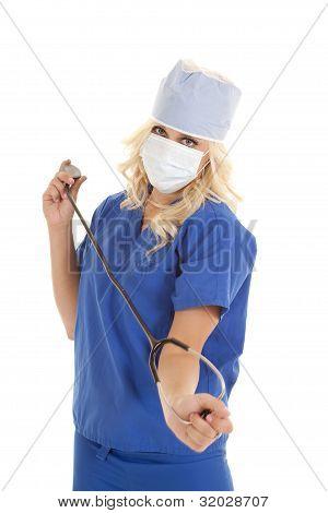 Holding Stethoscope