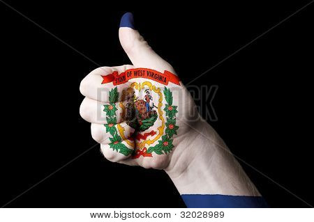 West Virginia Us State Flag Thumb Up Gesture For Excellence And Achievement Made With Hand