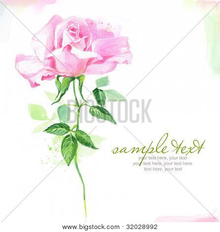 Painted watercolor card with rose and text