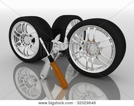 Wheels and Tools. Car service. Isolated 3D image
