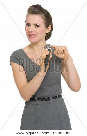 Woman Checking Microphone Isolated
