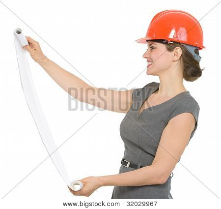Happy Architect Woman Looking On Flipchart Isolated