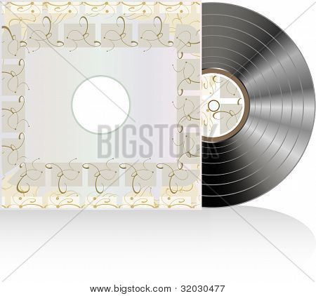 Black vinyl disc with grunge abstract cover