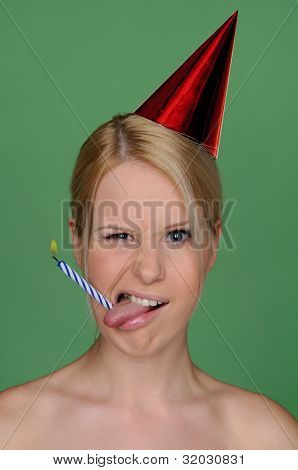 Woman With Candle In Tongue And Festive Cap