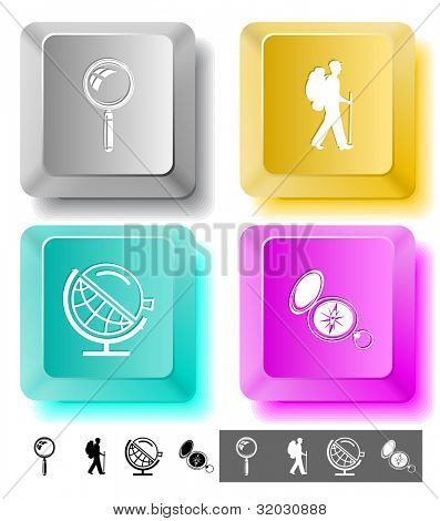Education icon set. Magnifying glass, compass, traveller, globe and loupe. Computer keys. Vector illustration.