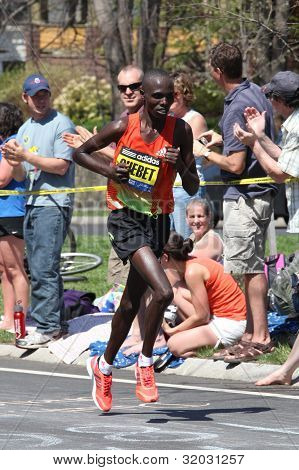 Wilson Chebet races up Heartbreak Hill during the Boston Marathon