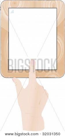 Ponto digital tablet ipad e mãos segurando