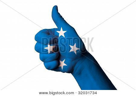 Micronesia National Flag Thumb Up Gesture For Excellence And Achievement Made With Hand