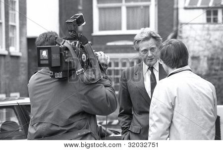 LONDON - FEBRUARY 26: Rt.Hon. Michael Heseltine, Secretary of State for the Environment and Conservative M.P. for Henley, takes part in a television news interview on February 26, 1992 in London, England.