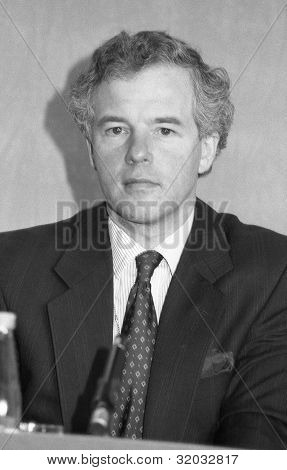 LONDON - MARCH 5: Michael Jack, Minister at the Department of Social Security and Conservative party Member of Parliament for Fyld, attends a press conference on March 5, 1992 in London, England.