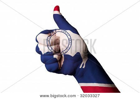 Wyoming Us State Flag Thumb Up Gesture For Excellence And Achievement Made With Hand