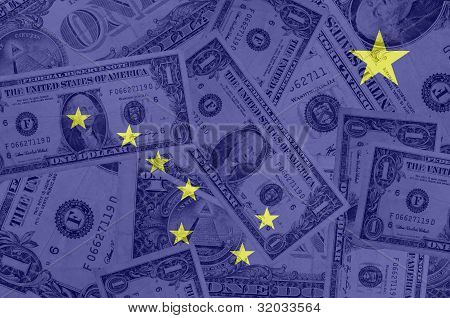 Us State Of Alaska Flag With Transparent Dollar Banknotes In Background