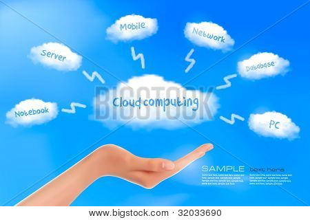 Hand with cloud computing diagram. Cloud computing concept. Vector