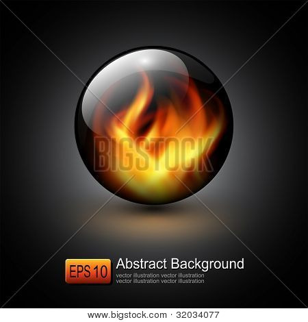3D sphere with fire flames inside as vector background.