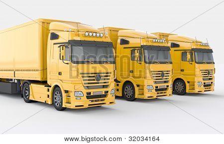 Trucks on a light background