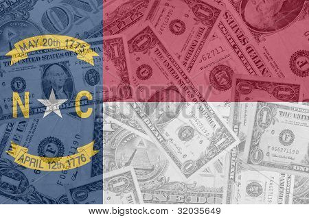 Us State Of North Carolina Flag With Transparent Dollar Banknotes In Background