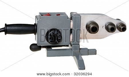 Welding Machine For Welding Of Plastic Pipes Isolated On White Background.