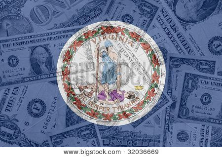 Us State Of Virginia Flag With Transparent Dollar Banknotes In Background