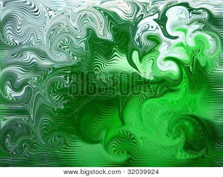 Green and White Swirl Background