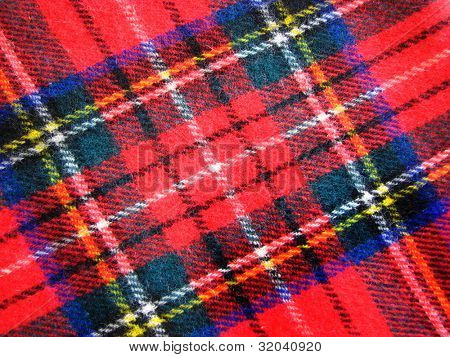 Woolen Tartan Fabric in Red