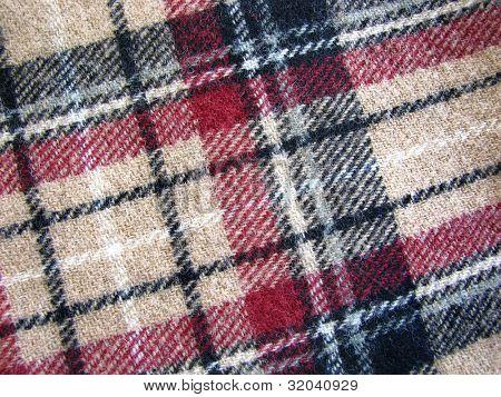 Woolen Tartan Fabric in Beige