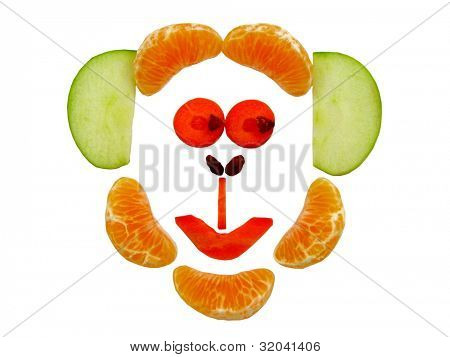 Cheeky Monkey Face made with fruit and vegetables