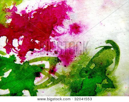 Watercolor Background in Pink and Green