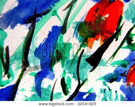 Abstract Watercolor Garden